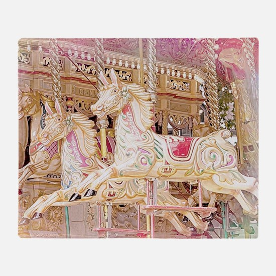 Merry-go-round pink Throw Blanket
