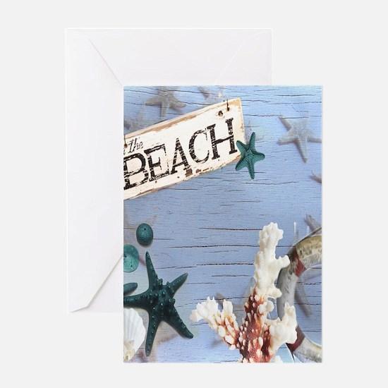 beach coral sea shells Greeting Cards