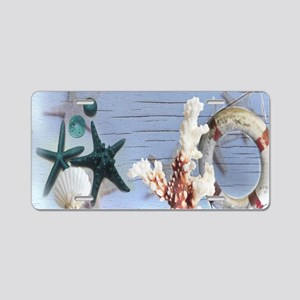 beach coral sea shells Aluminum License Plate