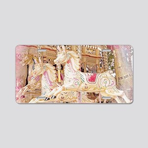 Merry-go-round pink Aluminum License Plate