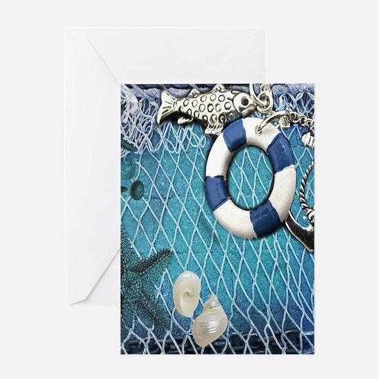 nautical fisherman sea shells Greeting Cards