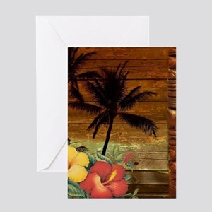 totem Hawaiian Hibiscus Flower Greeting Cards