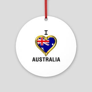 I HEART AUSTRALIA Round Ornament