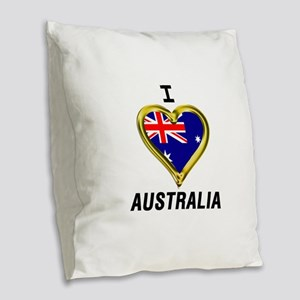 I HEART AUSTRALIA Burlap Throw Pillow