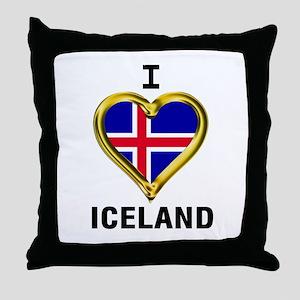 I HEART ICELAND Throw Pillow