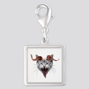 Krampus Cat Silver Square Charm
