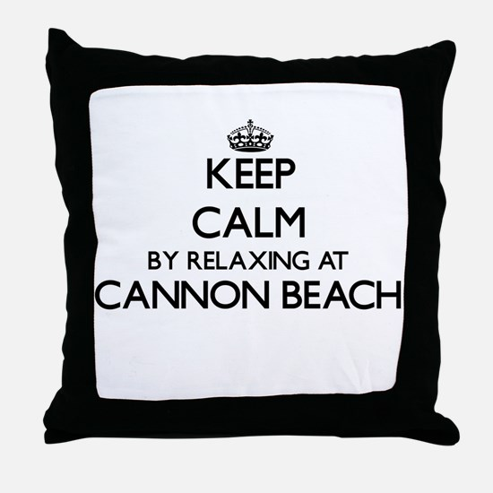 Keep calm by relaxing at Cannon Beach Throw Pillow