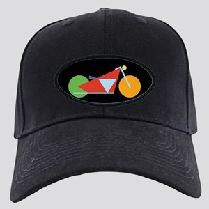 Modern Geometric Motorcycle Black Cap