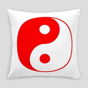 Red Yin Yang Symbol Everyday Pillow