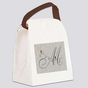 Cute Birds Monogram Canvas Lunch Bag