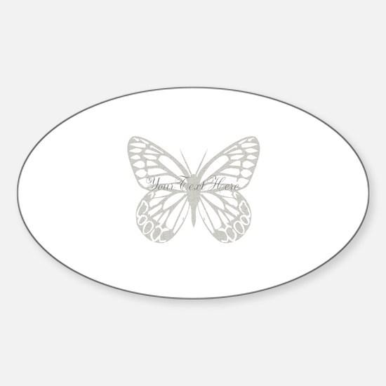 Cute Grey Butterfly Sticker (Oval)
