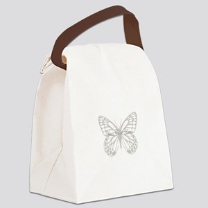 Cute Grey Butterfly Canvas Lunch Bag