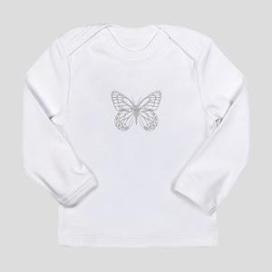 Cute Grey Butterfly Long Sleeve Infant T-Shirt