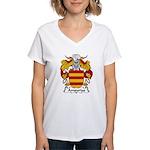 Ampurias Family Crest Women's V-Neck T-Shirt