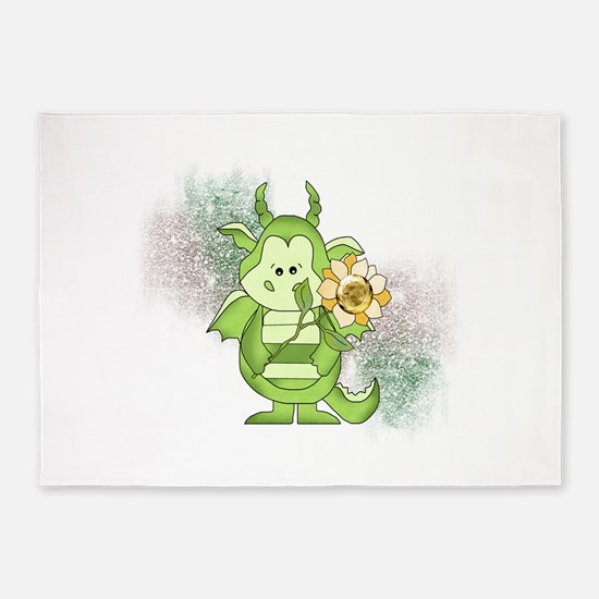 Little Green Dragon and Sunflower 5'x7'Area Rug