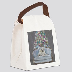 Blue Christmas Canvas Lunch Bag