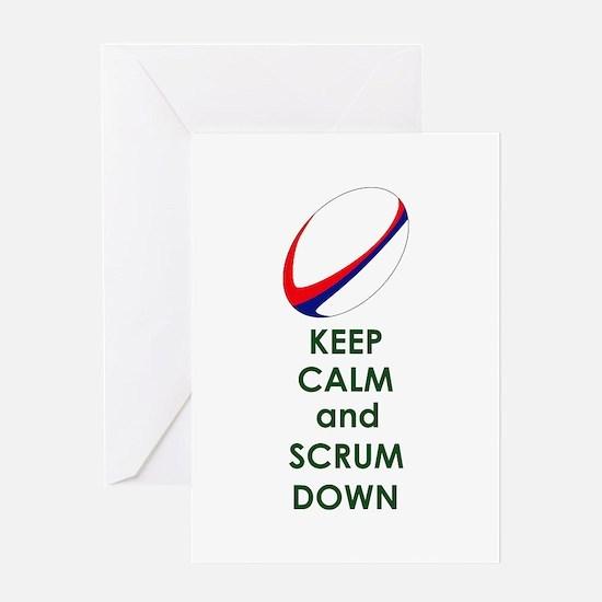 KEEP CALM SCRUM DOWN Greeting Cards