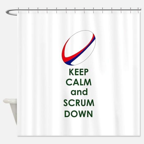 KEEP CALM SCRUM DOWN Shower Curtain