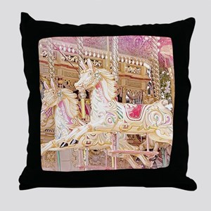 Merry-go-round pink Throw Pillow