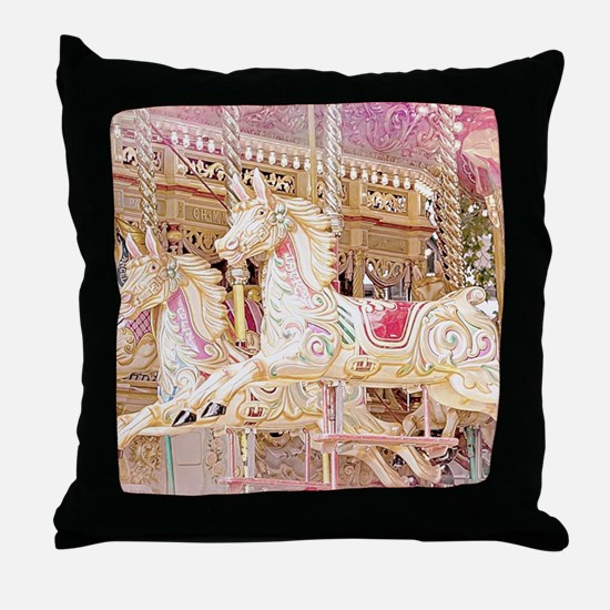 Merry-go-round pink Throw Pillow