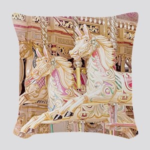 Merry-go-round pink Woven Throw Pillow