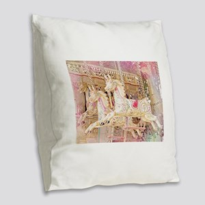 Merry-go-round pink Burlap Throw Pillow