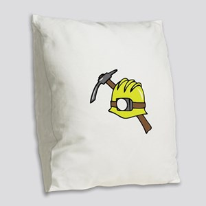 MINER HAT AND PICKAXE Burlap Throw Pillow