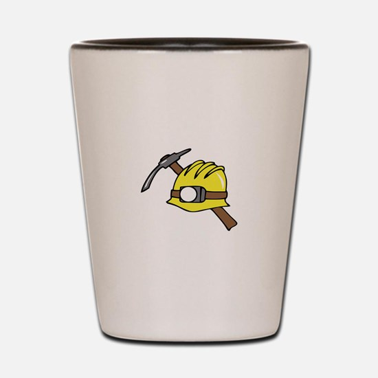 MINER HAT AND PICKAXE Shot Glass