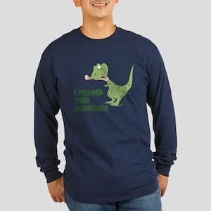 Cartoon Dinosaur Long Sleeve Dark T-Shirt