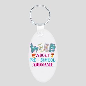 Wild About Pre-K Kids Back Aluminum Oval Keychain