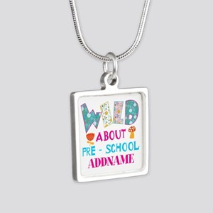 Wild About Pre-K Kids Back Silver Square Necklace