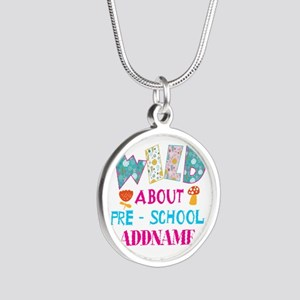 Wild About Pre-K Kids Back T Silver Round Necklace