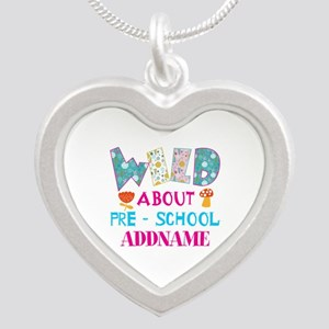 Wild About Pre-K Kids Back T Silver Heart Necklace