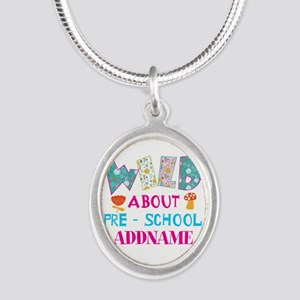 Wild About Pre-K Kids Back To Silver Oval Necklace