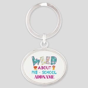 Wild About Pre-K Kids Back To School Oval Keychain