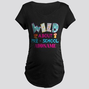 Wild About Pre-K Kids Back Maternity Dark T-Shirt