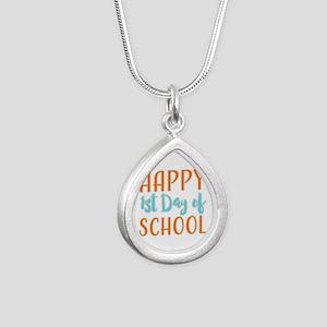 Happy 1st Day Of School Silver Teardrop Necklace
