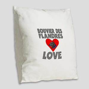 Bouvier des Flandres Love Burlap Throw Pillow