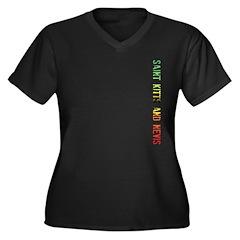 St. Kitts/Nevis Women's Plus Size V-Neck Dark T-Sh