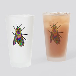 Painted Bee Drinking Glass