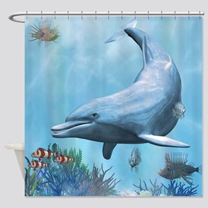 Dolphins Seascape Shower Curtain