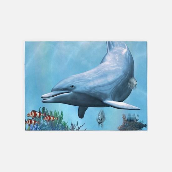 Dolphins Seascape 5'x7'Area Rug