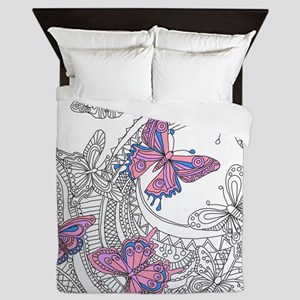 Butterfly Sketch 3 Queen Duvet