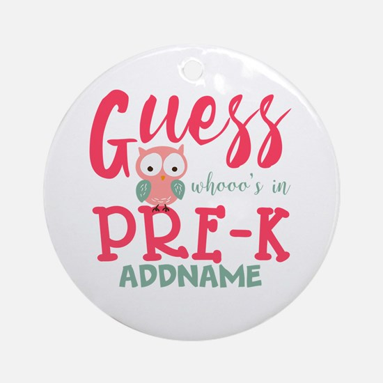 Preschool Shirts for Girls Personal Round Ornament