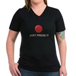 Big Red Button Women's V-Neck Dark T-Shirt