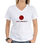 Big Red Button Women's V-Neck T-Shirt