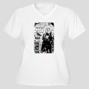 Punisher Skull Ty Women's Plus Size V-Neck T-Shirt