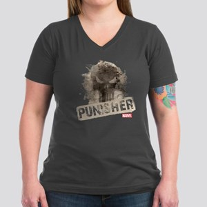 Punisher Grunge Women's V-Neck Dark T-Shirt