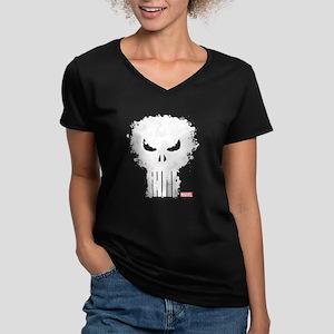 Punisher Skull Women's V-Neck Dark T-Shirt