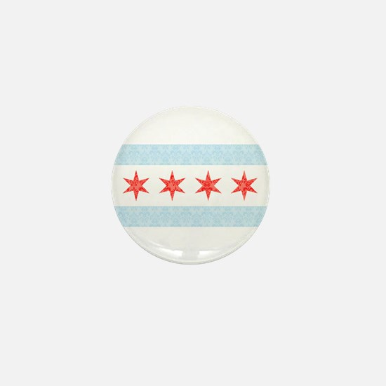 Damask Chicago Flag Mini Button